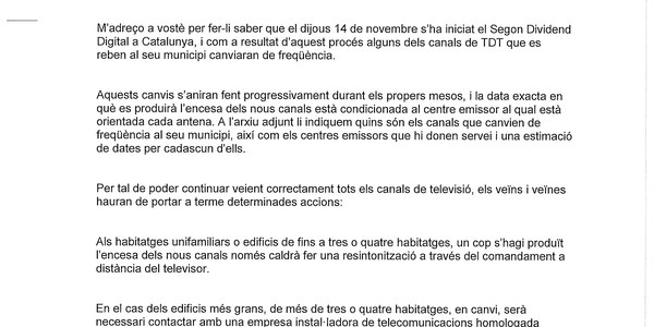 CANVI DE FREQÜÈNCIA EN ALGUNS CANALS DE TDT