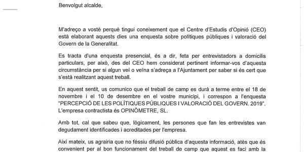 ENQUESTA SOBRE POLÍTIQUES PÚBLIQUES I VALORACIÓ DEL GOVERN DE LA GENERALITAT